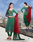 Cotton Machine Embroidery Work Green Semi Stitched Anarkali Suit - 515-3303B