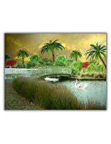 TIA Creation Bridge on River Canvas 0198 Print on Cotton Canvas 31inch x 22inch