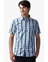 Blue Checked Slim Fit Casual Shirt Sparky
