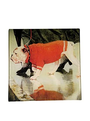 Twigs and Moss Bulldog in Red Sweater Glass Tray