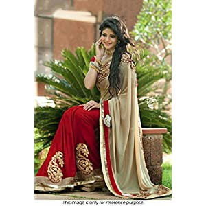 Nine Colours Bollywood Replica Sari in Beige and Maroon