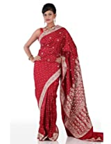 Chhabra555 Red Satin Embroidery Saree