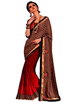 Faux Georgette Red & Brown Colour Saree for Party Wear