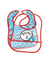 Bumkins 2 Count Dr. Seuss Easy Wipe Bib Blue Thing 2