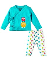 Infant Boys Tie up Jabla with Pyjama Set, Aqua Blue (0-3 Months)