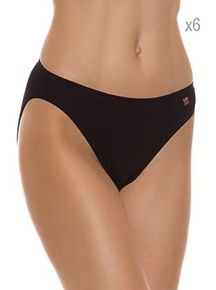 Pierre Cardin Pack x 6 Braguitas Bikini Algodón (Negro)