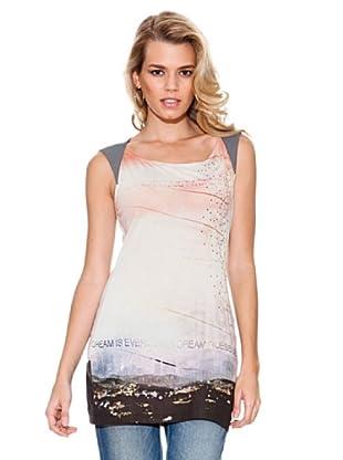 Guess Camiseta Aplicaciones (Beige / Rosa / Gris)