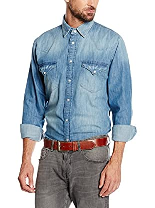 Cortefiel Camisa Vaquera Denim Aged Western