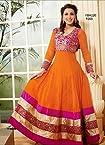 Fabboom New Sonali Bendre Georgette Orange Semi Stitched Long Anarkali Suit