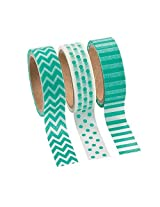 Teal Washi Tape Set 16 Ft. Of Tape Per Roll (3 Rolls Per Unit) Patterns: Chevron, Polka Dots And Stripes. Model: , Toys & Games For Kids & Child