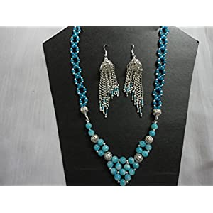Mona Jewels Blue Patterned Necklace With Long Jhumki Earrings
