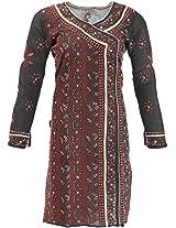 Lucknow Chikan Industry Women's Cotton Straight Kurta (LCI-386, Black, s)