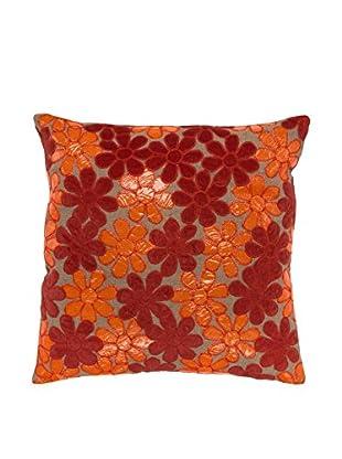 Cloud 9 Appliqué Flower Jute Throw Pillow, Natural/Orange/Red