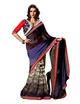 Texclusive Women'S Georgette And Chiffon Saree With Blouse Piece