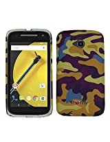 Heartly Army Style Retro Color Armor Hybrid Hard Bumper Back Case Cover For Motorola Moto E 2nd Generation XT1505 - Yellow Field