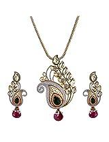 Be You Graceful Kundan Meena Fusion Style Rhodium Plated Earring & Pendant Set for Women