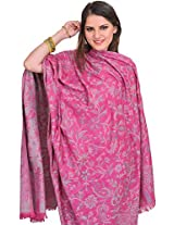 Exotic India Reversible Jamawar Shawl from Amritsar with Woven Paisleys - Color Magenta HazeColor Free Size