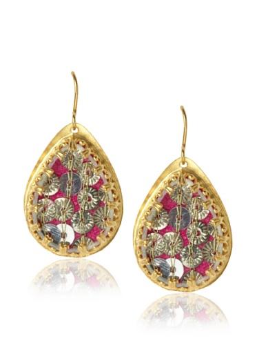 Presh Gold & Magenta Teardrop Earrings