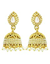 Peora Cut-Work Traditional Jhumkis for Women (White)