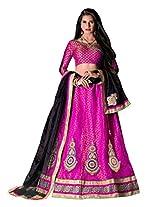 Manvaa Appealing Pink And Black Net lehenga