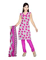 Sonal Trendz Women's Polyester Pink Printed Dress Material