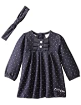 Calvin Klein Baby-Girls Newborn Denim Dress with Headband, Blue, 6-9 Months