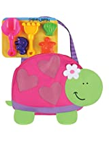 Stephen Joseph Beach Tote with Sand Toy Playset Turtle