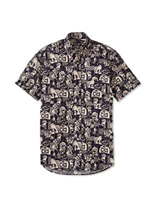 Gitman Blue Men's Kabuki Theater Short Sleeve Shirt (Navy)