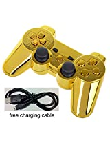 Yttl Chrome Gold Bluetooth Wireless Controller For Ps3 Six Axis Dualshock