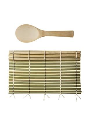 Helen Chen's Asian Kitchen Bamboo Sushi Mat w/Rice Paddle