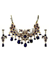 Vivanta Blue Gold Plated Necklace And Earrings Set For Women (VD-N125)