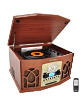 Pyle Home PTCDS7UIW Retro Vintage Turntable with CD/MP3/Casette/Radio/USB/SD, Aux-In and Vinyl-to-MP3 Encoding (Wood Finish)