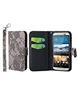 HTC One M9 Wallet Case, MPERO FLEX FLIP Series Premium PU Leather Wallet [3 Pockets] Inner Flexible TPU Slim Fit Case for One M9 with Magnetic Flap & Hand Strap - Black Lace with White Interior