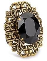 """Liz Palacios """"Piedras"""" Jet Swarovski Crystal Ring"""