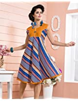 Cotton Embroidered Blue Frock Dress - 2001-A