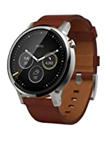 Motorola Moto 360 (2nd Gen) 46mm Natural Metal Dial with silver case and Cognac Leather Band Smart Watch