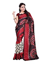 Surat Tex Cream & Red Crepe Daily Wear sarees for sale with Blouse Piece