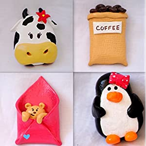 PinkFeather Moo Cow Fridge Magnets - Set Of 4