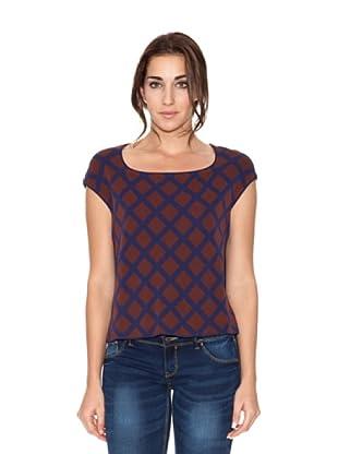 SIYU Blusa Knit Rombos Cuadrado (Azul/Marrón)