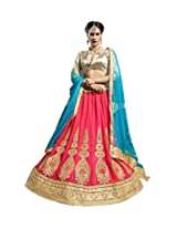 Appealing Pitch And Golden semi stitched lehenga with 60 Gm Georgette and Gota fabric