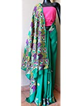 Phulkari Work Georgette Sari- Green