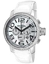 Men'S Canteen Chronograph White Zirkonias White Mother Of Pearl Dial White Leather (Tw54)