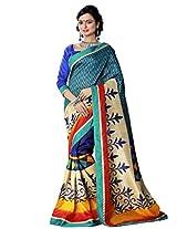 Riti Riwaz Teal Bhagalpuri Silk Casual Saree with Unstitched Blouse NRV6502A