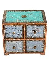 Handmade Rust Wood Drawer Set Vintage Hand Painted By Rajrang