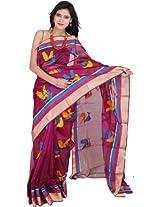 Exotic India Grape-Wine Chanderi Saree with Hand-woven - Multi-Coloured