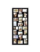 Adeco [PF9107] 24 Openings 4x6 & 6x4 Collage Picture Frame - Wood Photo Collage Decoration - Black for Wall Hanging Horizontal & Vertical