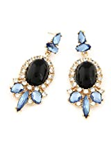 Cinderella Collection by Shining Diva Alluring Golden & Black Crystal Hanging Earrings for Women 6973er