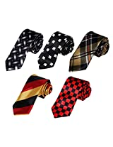 DANF0018 Designer Thin Neck Ties Stain Skinny Ties Set Handsome - 5 Styles Available By Dan Smith