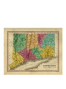 "Connecticut Map, Pink/Aqua/Green/Yellow, 32"" x 40"""