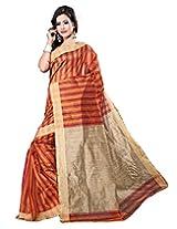 VASTRAKALA Cotton Silk Gold Maroon Stripes Saree